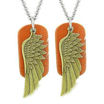 Guardian Angel Wings Protection pouvoirs magiques amour Couples ou meilleurs amis mis en jaspe rouge Colliers