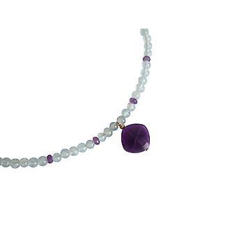 Gemshine-naiset-kaula koru-kullattu-Aquamarine-Amethyst-sininen-violetti