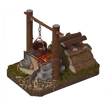 Cooking point Flacker light with boiler Nativity accessories for Nativity stable