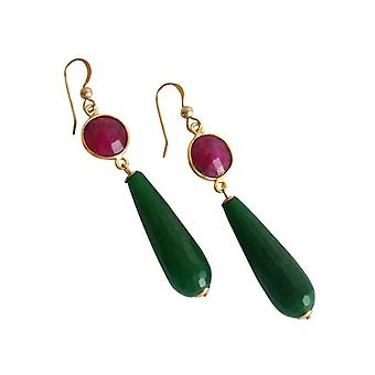 Ladies earrings Ruby and jade gemstone earrings earrings gold plated