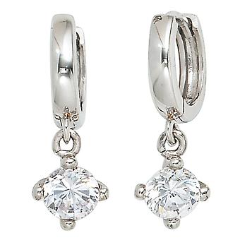 Hoop earrings with charm 925 sterling silver rhodium-plated 2 cubic zirconia Silver earrings round