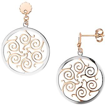 Stainless steel earrings stainless steel rose gold color coated bicolor earrings