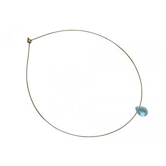 Collier gold aquamarine chain MARY aquamarine necklace gold plated