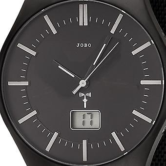 JOBO men's Watch Black radio radio clock stainless steel men's watch with date