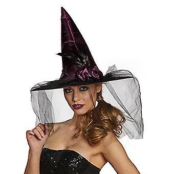 Sorcière chapeau fleur accessoires chapeau Carnaval Halloween sorcière voile
