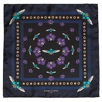 Simon Carter Scarab and Orchid Silk Pocket Square - Navy