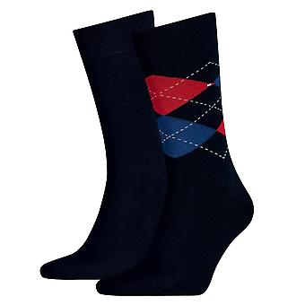 Tommy Hilfiger 2 Pack Check calcetín - Tommy Original