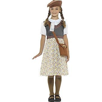 Evacuee School meisje kostuum, Grey, met jurk, muts, tas & naamplaatje
