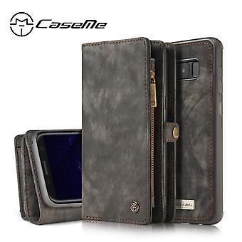 CASEME Samsung Galaxy S8 Plus Portefeuille en cuir rétro Case-gris