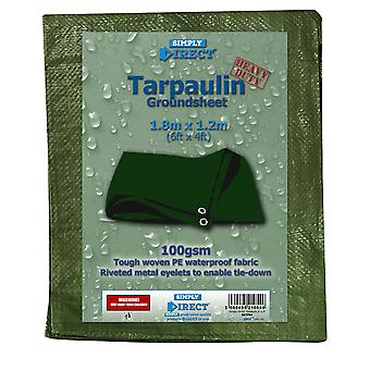 Simply Direct Tarpaulin 6' x 4' (1.8m x 1.2m) Outdoors Coverall - Eyelets - Dark Green