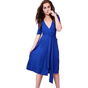 Lovemystyle Royal Blue Midi mekko syöksyä niskaan ja Tie vyötärö