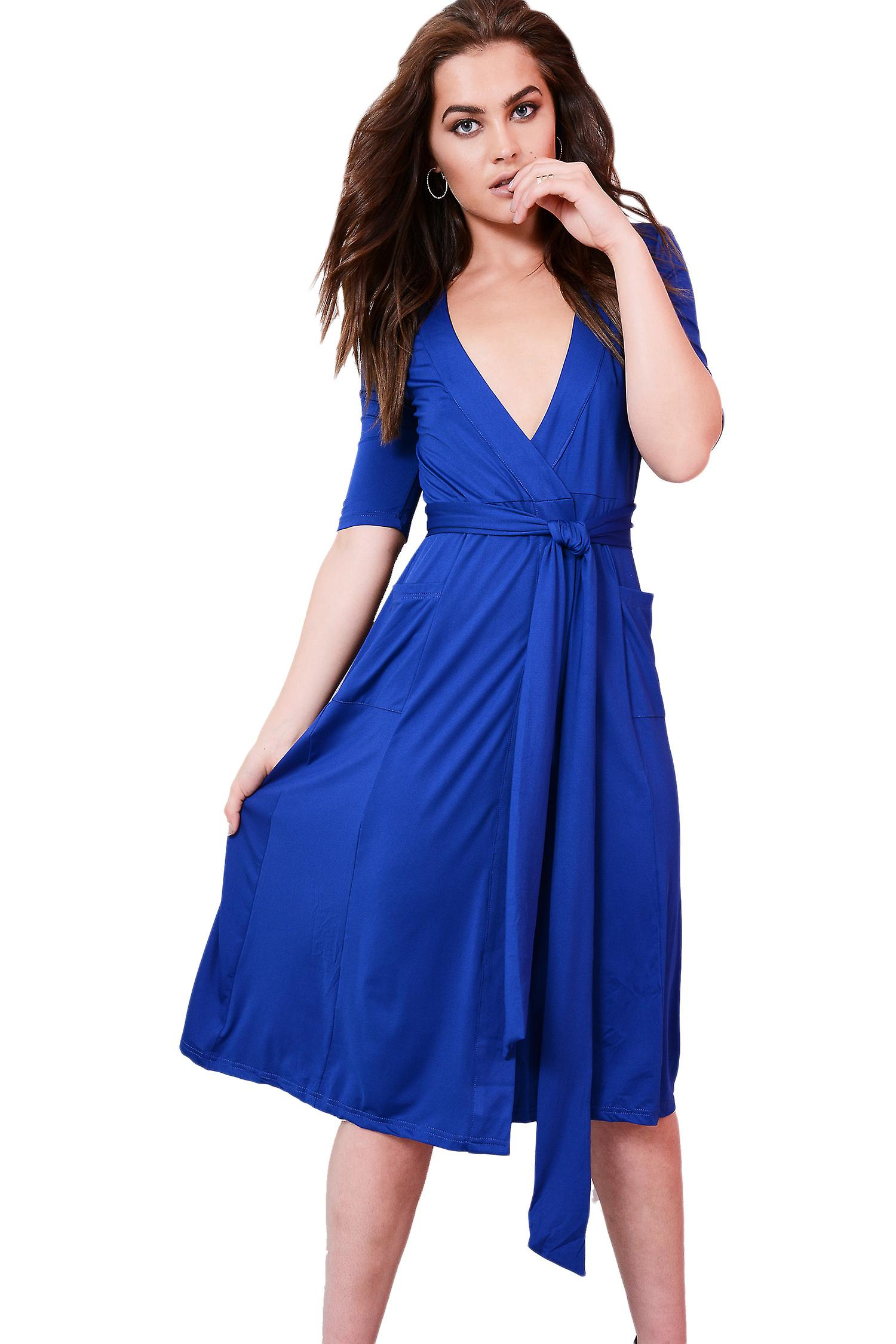Lovemystyle Royal Blue Midi Dress With Plunge Neck And Tie Waist