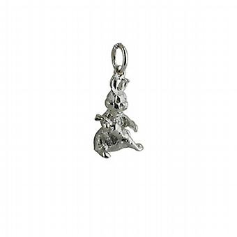 Silver 16x9mm solid Rabbit with Carrot Pendant or Charm