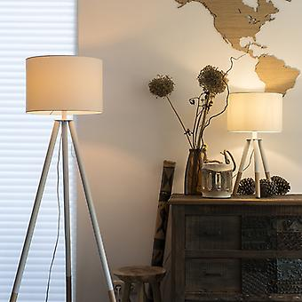 QAZQA Set di lampada da terra e treppiedi lampada tavolo con paralume bianco - Pip