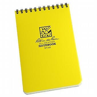 雨全天候型ノートブック - 4 x 6 インチ スパイラル バインド - 黄色の儀式