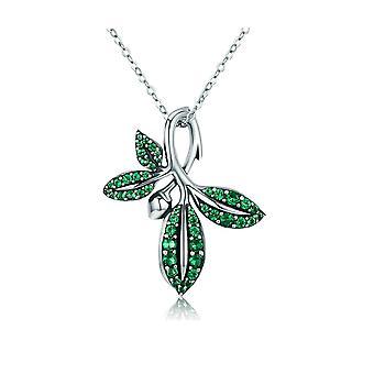 Halsband hänge kvinna prydd med blad av grön Swarovski Crystal och Silver 925