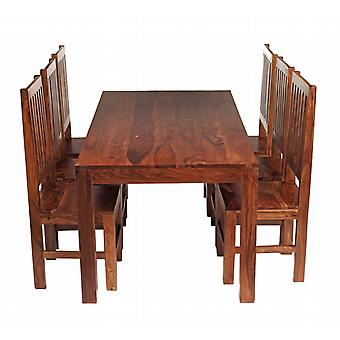 Oslo Sheesham 6 Seater Dining Set With Wooden Chairs