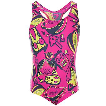 Infant Girls Speedo Essential Moonset Swimsuit In Pink Blue- Graphic Print