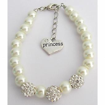Strasssteine Pavel Ball Armband Blumenmädchen Elfenbein Armband