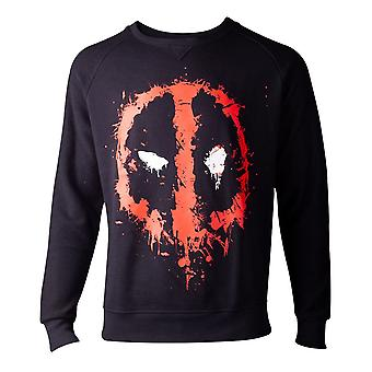 Deadpool Sweatshirt Dripping Face Mens Sweater Black X-Large (SW000014DEA-XL)