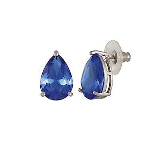 Eterna colección seducción lágrima azul zafiro tono plata montante perforado pendientes