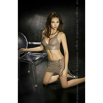 Passion Lingerie Sava Grey Faux Leather Bustier & Mini Skirt Set
