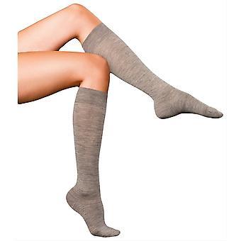 Falke hienoimmista No3 Merino ja silkki polvi korkea sukat - vaalea harmaa meleerattu