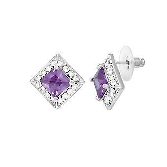 Eeuwige collectie pracht paars kristal & Diamante zilveren Toon Stud doorstoken oorbellen