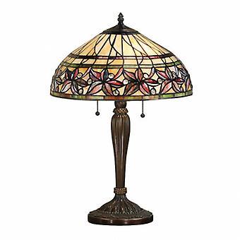 2 ljus medium bords lampa Tiffany glas, mörk brons färg med höjd punkter