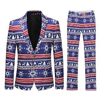 Allthemen Mens איילים & חג המולד עצים מודפס חליפה שני חלקים (בלייזר + מכנסיים)