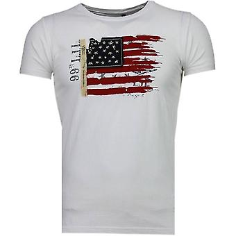 USA Flag Embroidery-T-Shirt-White
