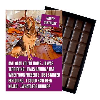 Bloodhound lustige Geburtstagsgeschenke für Hund Liebhaber Boxed Schokolade Grußkarte vorhanden