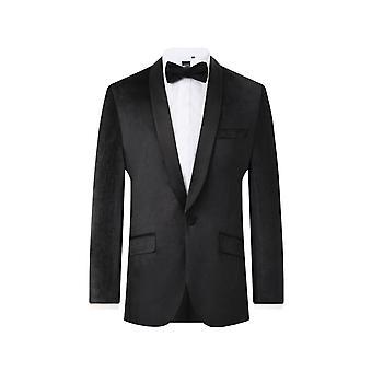 Dobell Mens zwarte smoking Dinner Jacket Fit Regular Velvet omslagdoek revers