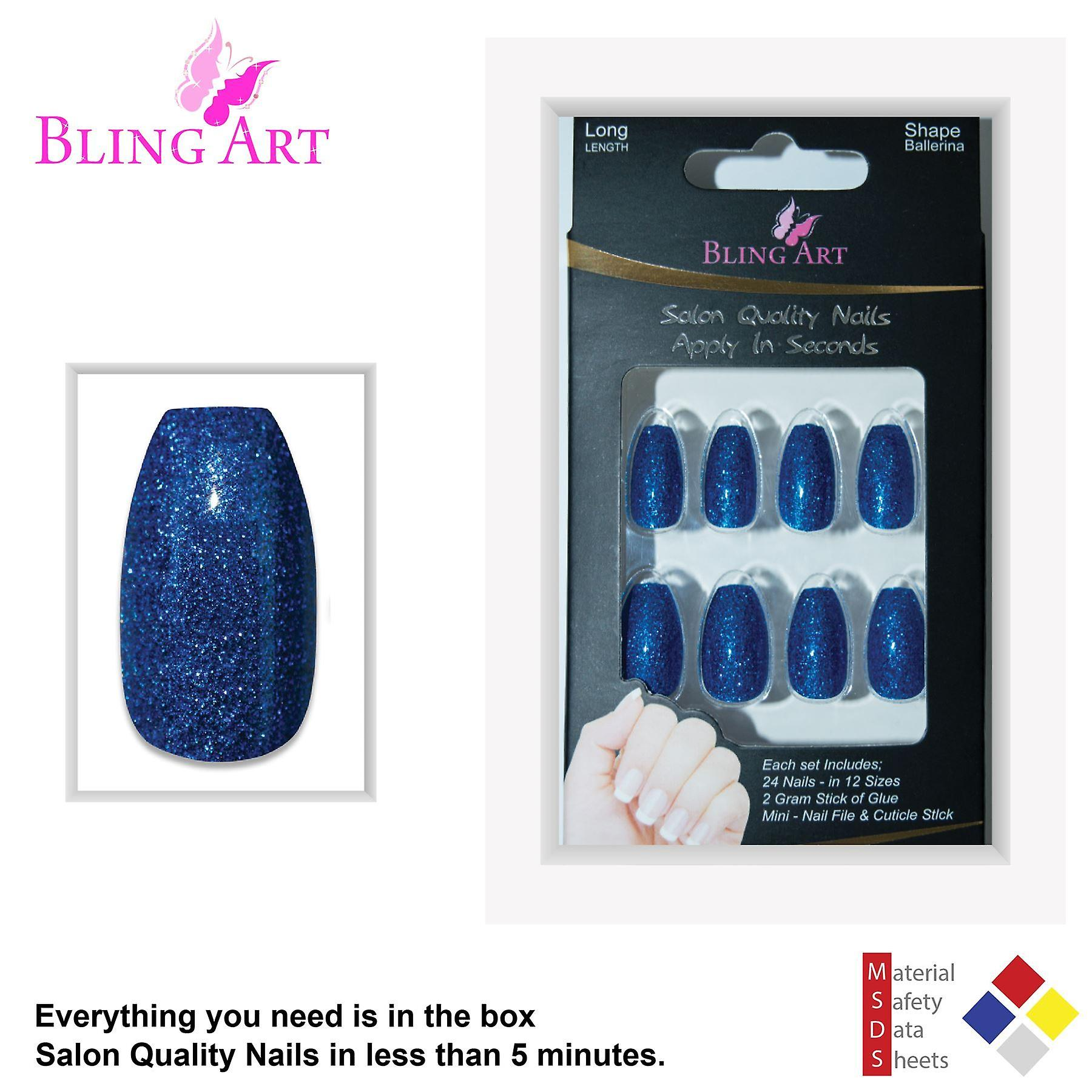 False nails by bling art blue gel ballerina coffin 24 fake long acrylic tips