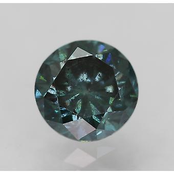 Cert 0.52 Ct Fancy Vivid Blue SI1 Round Brilliant Enhanced Natural Diamond 4.94m