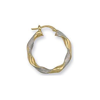 Pendientes de aro criollo retorcido de la eternidad 9ct 2 colores oro de 27 mm redondo