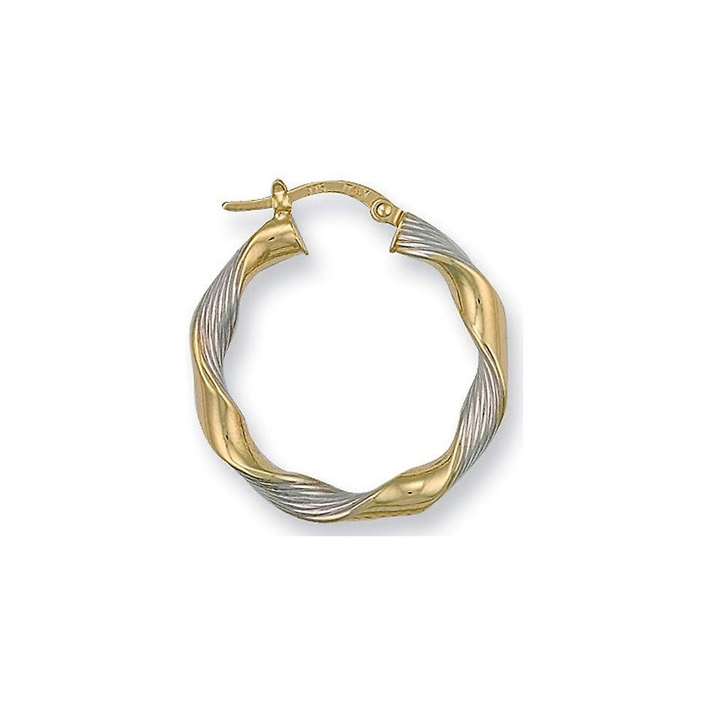 Eternity 9ct 2 Colour Gold 27mm Round Twisted Creole Hoop Earrings