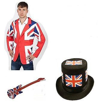 Union Jack Wear Union Jack rock stjärna maskeraddräkter kit-Noddy Holder stil Slade hatt