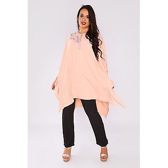 Shifra women's longline top & pantaloni co-ord a due pezzi in salmone