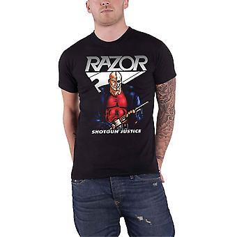 Razor T Shirt Shotgun Justice Band Logo new Official Mens Black