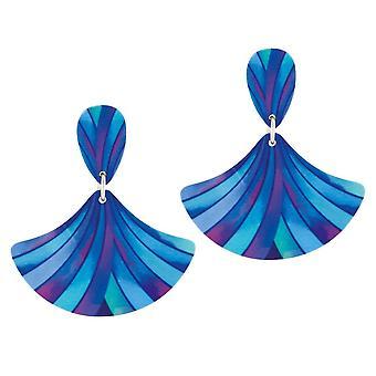 Eternal Collection Fandango Blue Multicoloured Stripe Aluminium Drop Pierced Earrings