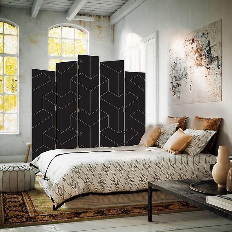 Diviseur de pièce décoratif, 5 panneaux, double-côté, toile, figures géométriques