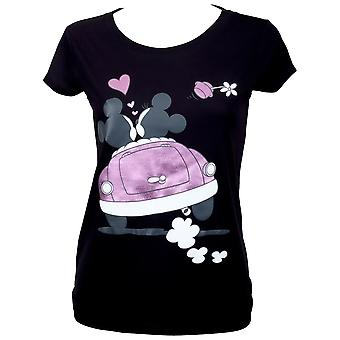 Mickey en Minnie Moto Mouse vrouwen ' s zwart T-shirt