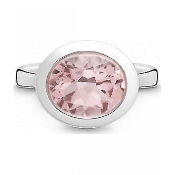 QUINN - Ring - Damen - Silber 925 - Edelstein - Rosa Quarz - Weite 56 - 21403630