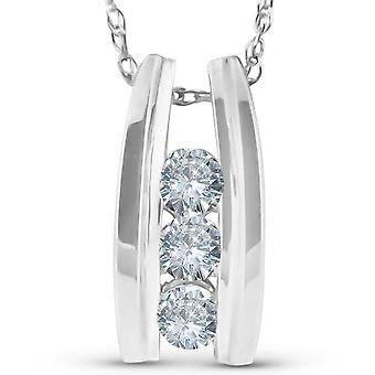 Colgante de diamantes de tres piedras de 1/4 Ct 14k oro blanco 1/2