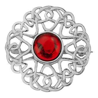 Celtic Eternity Knotwork Pin Clasp Indney Abbigliamento Fibulae Spilla - Ruby Colour Stone