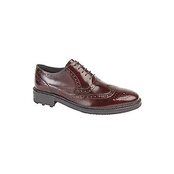 Roamers Silas Mens Leather Brogue Lace Up Oxford Shoes Oxblood Hi-shine