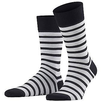 Falke even Stripe Socken - Dunkle Marine/Weiß