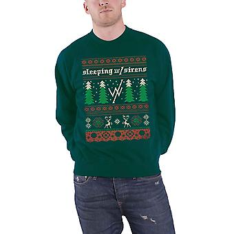Sleeping With Sirens Christmas Jumper Sweatshirt Xmas Trees Official Mens Green