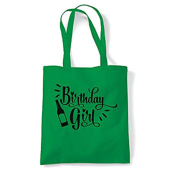 Geburtstag Mädchen Bier Flasche Tote | Alles Gute zum Geburtstag Feier Party immer älter | Wiederverwendbare Shopping Baumwolle Leinwand lang behandelt natürliche Shopper Eco-Friendly Fashion